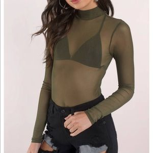 Olive green mock neck long sleeve mesh bodysuit